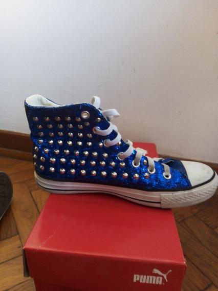 Zapatillas Botitas Brillantes Con Tachas N° 40 - Dama