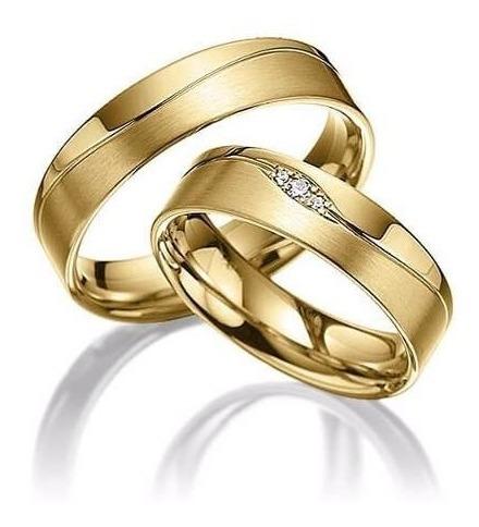 Par Aliança 7mm Casamento Noivado Compromisso Ouro 18k Luxo