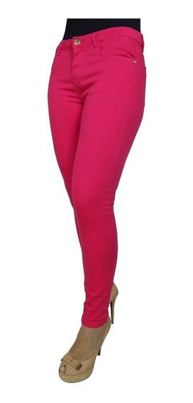 Calça Jeans Feminina Cigarrete Rosa Cintura Alta Lycra Moda