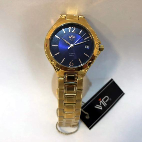Relogio Vip Mm1305 Feminino Folhado A Ouro Data Azul Orig Nf