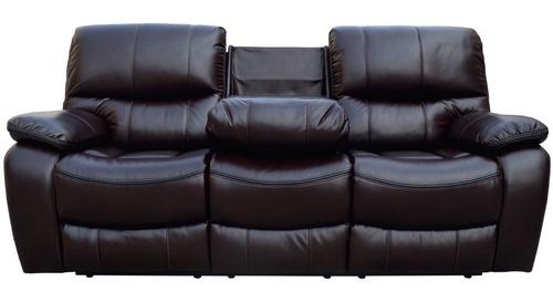 Sillon 3 Cuerpos Sofa Reclinable Living Comedor Marron Jon