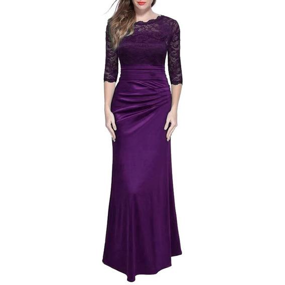 Vestido De Fiesta Largo De Encaje Formal Y Elegante