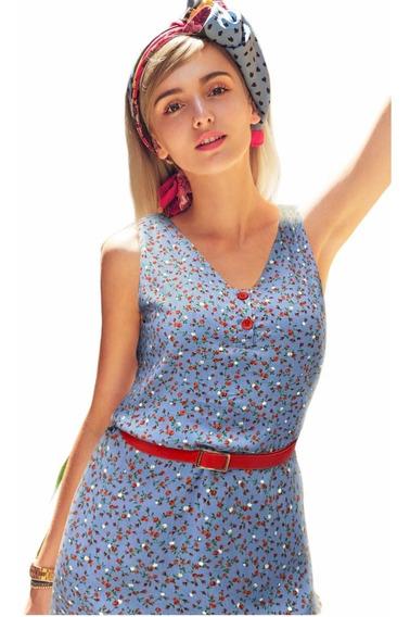 Vestido Primavera Verano Con Cinturón Casual Fiesta Moda