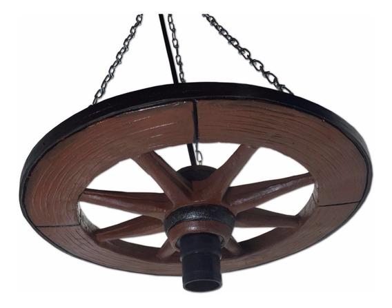 Pendente Roda De Carroça Luminária Rustica Fazenda Resina