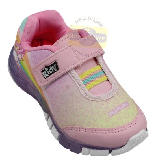 Tênis Kidy Infaltil Meninas Luzinha Pink Ou Rosa Original