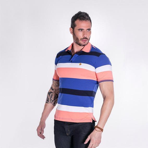 Camiseta Polo Masculina Terra De Peão Azul/salmão 50017.068