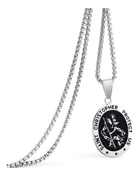 Cordão Com Pingente Medalha São Cristóvão Relevo Aço Inox