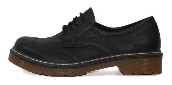 Zapatos Savage Acordonado Negro Mujer Sale Liquidación