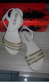 Sandálias Rasteirinhas Variadas: Bege Claro/tranças Douradas