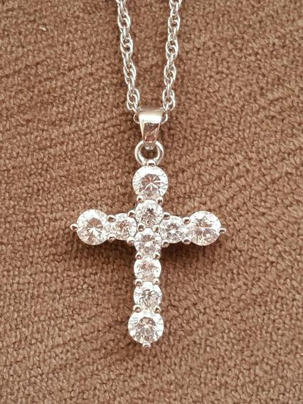 Colar Cruz Ouro Branco Com Diamantes