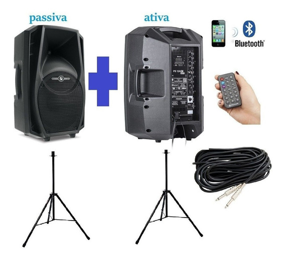 Kit Caixa Ativa + Passiva Ps12 Bt Usb Fm+ Tripé + Cabo Frahm