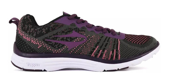 Topper Zapatilla Running Mujer Lady Point Gris - Bordo