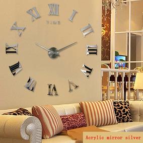 Relógio De Parede Cor Prata Grande Decorativo 3d Romano