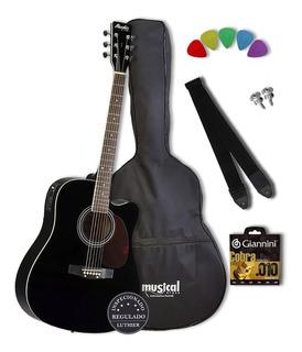 Kit Completo Violão Folk Elétrico Md18 Tagima