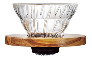 Hario V60 Glass Dripper Coffee Size 01 Olive Wood