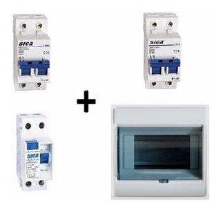 Kit 2 Térmicas 10a32amp + 1 Disyuntor 40amp + Caja 8 Modulo.