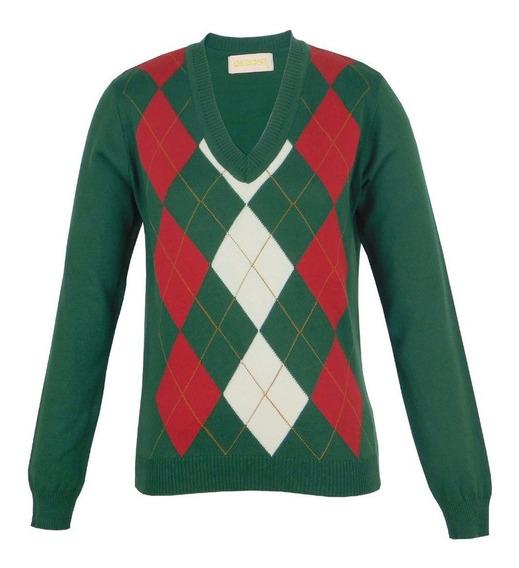 Casaco Verde Blusa Sueter Feminina Losango Blusa Leve Luxo