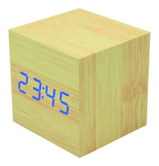 Reloj Digital Madera Despertador Cubo Sensor Led Envio Grati