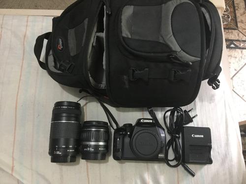 Canon Eos 1000d + Lente Extra Até 300m + Mochila Própria