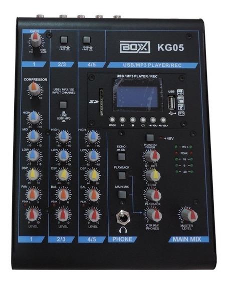 Mesa De Som Mixer Boxx Kg05 5 Canais Grava E Reproduz Usb