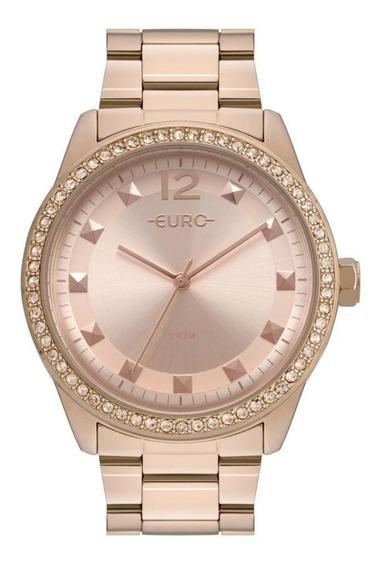 Relógio Euro Feminino Pedrinhas Spikes Delicado Moderno