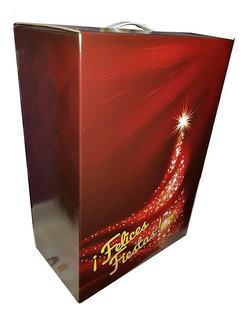 Cajas Navideñas Felices Fiestas De Carton Impresas Grande