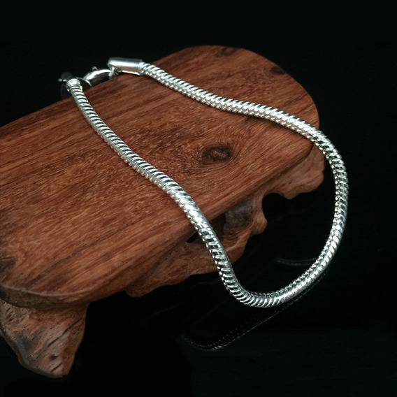 Pulseira Prata 925 Esterlina Em Escamas 20cm Feminina