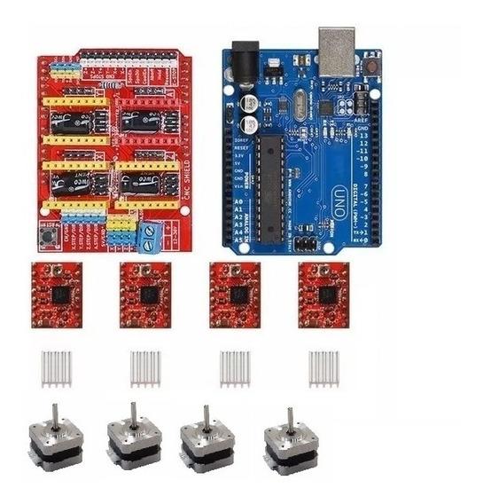 Kit Cnc Arduino + Shield + 4 Drives + 4 Motores De Passo