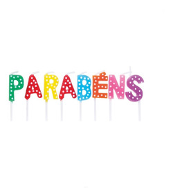 Vela Letras Parabens Colorido Dec. Festas