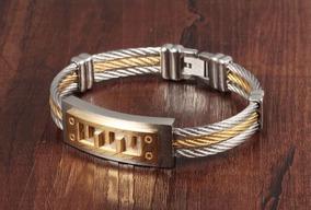 Pulseira Masculina Bracelete Aço Inox 18.5 Cm
