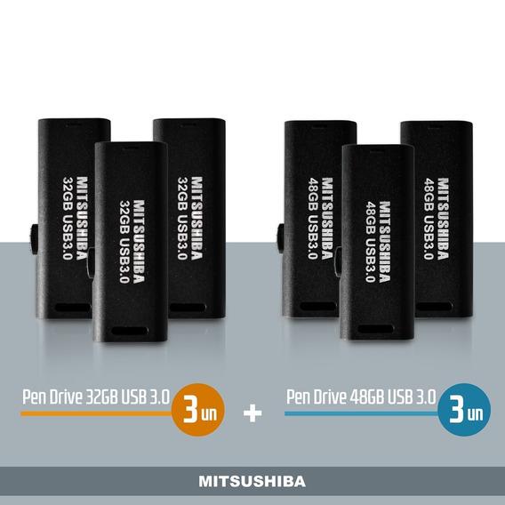 Kit Pen Drive 32gb(usb 3.0) 3pcs + 48gb(usb 3.0) 3pcs