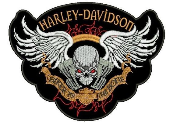 Patch Bordado Harley Davidson Skull Termo Colante 26 Cm.