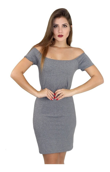Vestido Listrado Feminino Ombro A Ombro Manga Curta. Ref:001