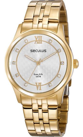 Relógio Seculus Feminino Dourado Long Life 35025lpsvda1