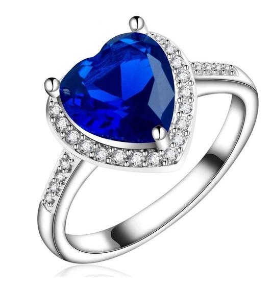 Anillo Chapa Oro Blanco Corazon Cristal Azul Swarovsk