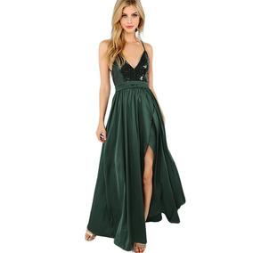 Vestido Maxi Largo Fiesta Verde Lentejuelas Va 377