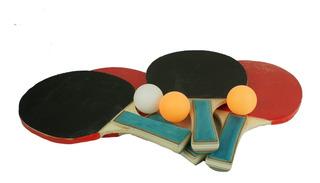 Set De Ping Pong 4 Raquetas + 3 Pelotas Starter Recreativo