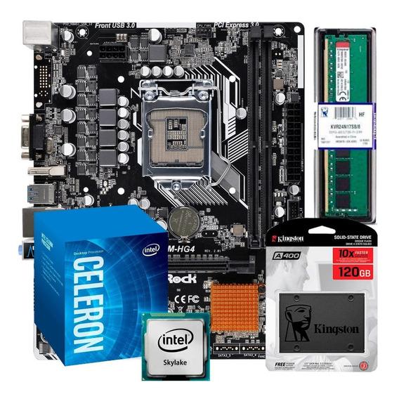 Kit Processador Celeron G3900 Placa Mãe H110m 4gb Ssd 120