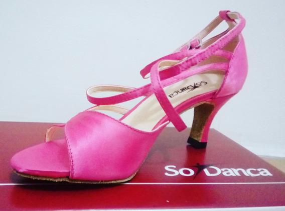 Sandália De Dança Rosa 2 Fivelas - Só Dança