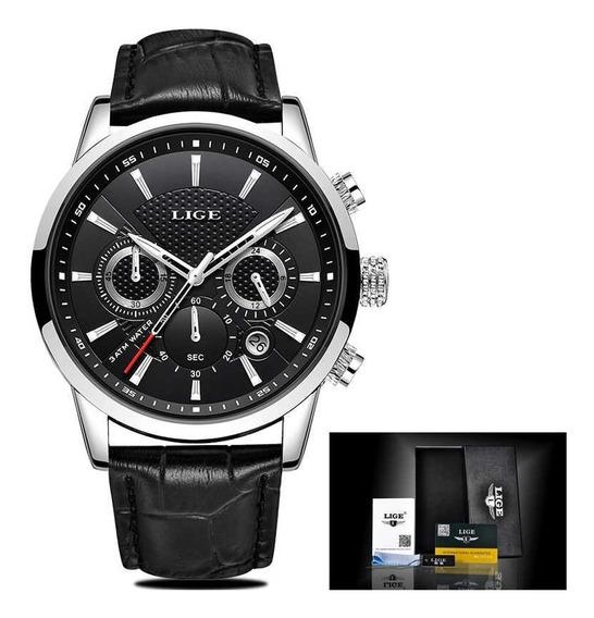 Relógio Masculino Lige 9866 Luxo Casual Social Com Caixa