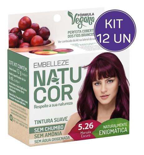 Kit Tinta De Cabelo Natucor Nat Enigmática Marsala 5.26