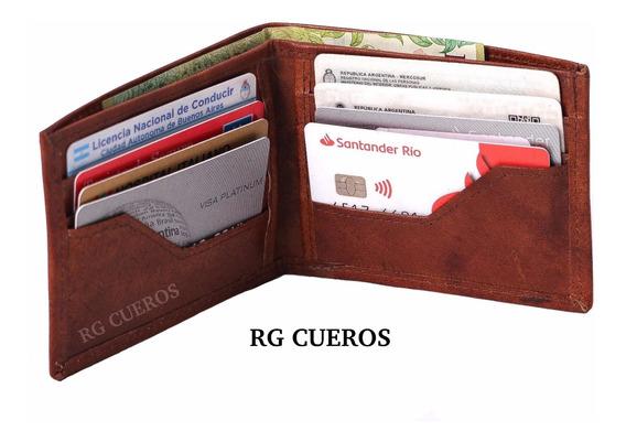 Billetera De Cuero Vacuno Tarjetero Porta Documentos Hombre