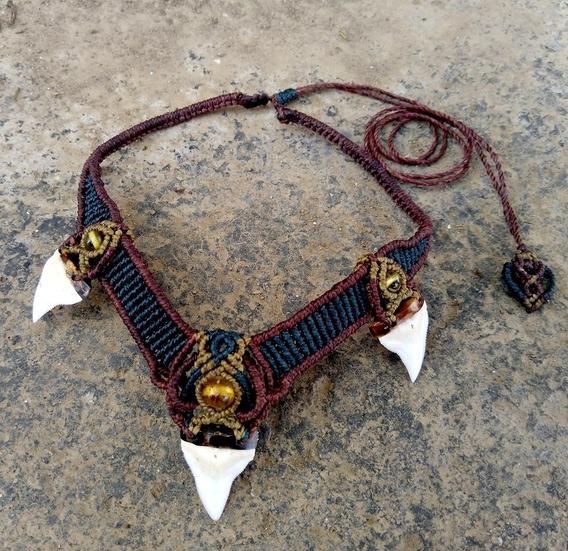 Collar Pectoral De Diente De Tiburón Autentico