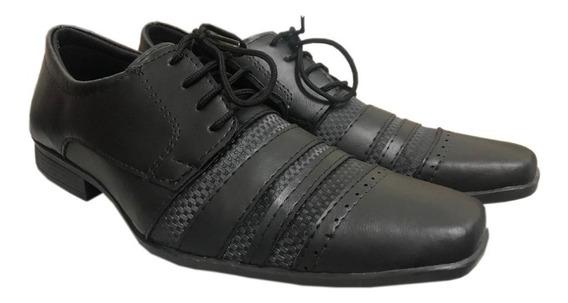 Sapato Social Bico Quadrado Fosco Cadarço Elegante Barato