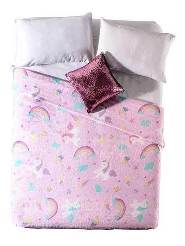 Imagen 1 de 4 de Cobertor Vianney Ligero Matrimonial Sweet unicorn