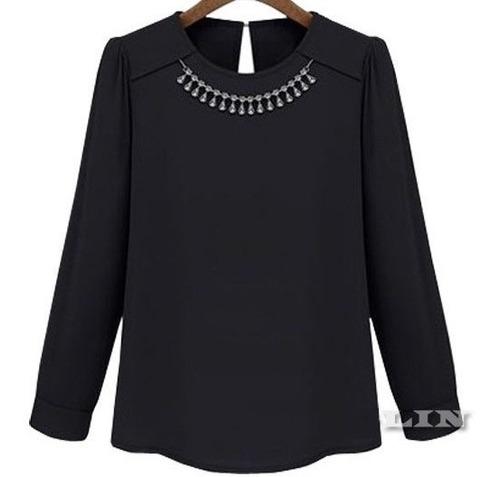 Blusa Negra Talla M Elegante Con Collar De Cristales Nueva