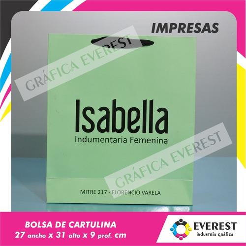 Bolsas De Cartulina 27x31x9 X 250u Impresas Offset 1 Color