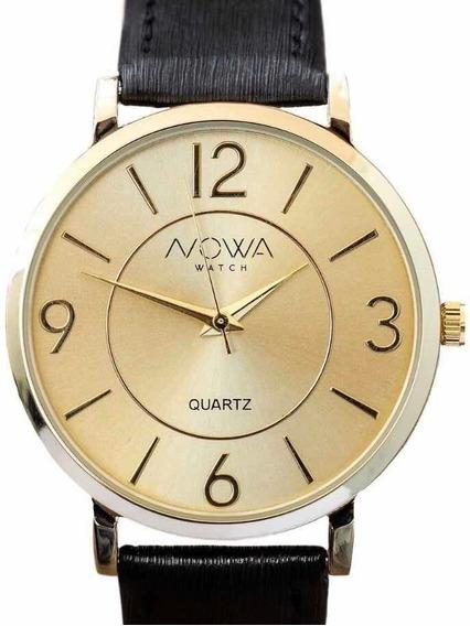 Relógio Nowa Feminino Dourado Couro / Brinde Original