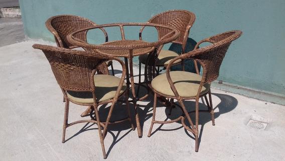 Mesa Redonda C/4 Cadeiras Junco Varanda Sala Cozinha