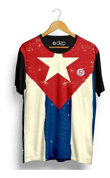 Camiseta Dep Bandeira Cuba Azul / Vermelho